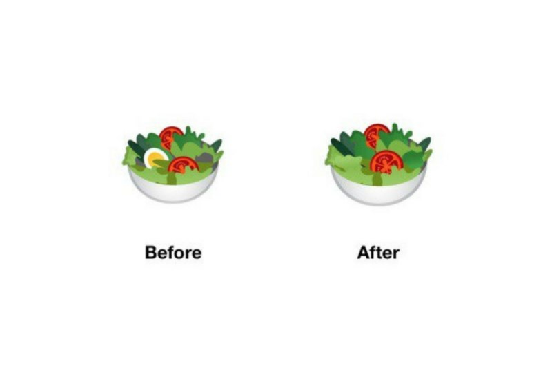 android salad emoji changes google removes egg from their salad