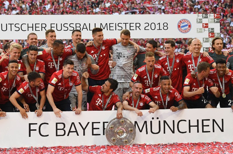 Image result for bayern winning bundesliga 2018/19