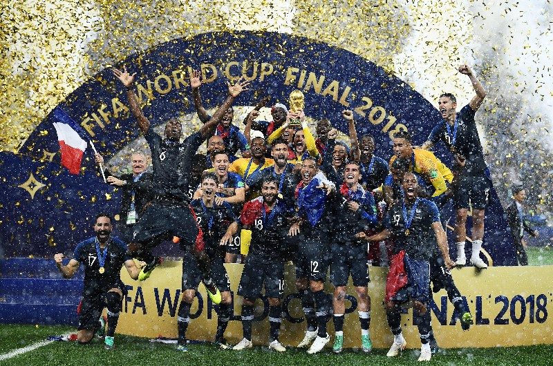 efeccd27eb0 France celebrate with the FIFA World Cup trophy after winning the 2018 ...