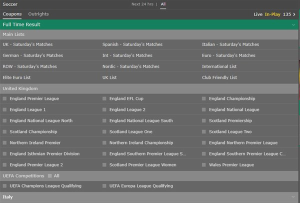 bet365 soccer coupon