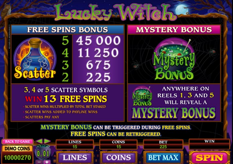 Lucky Witch Slots Free Spins