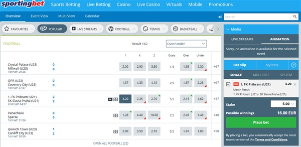 Sportngbet UK Live Betting