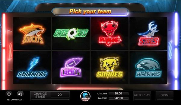1st down slots team pick