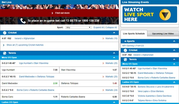 Sportsbet Live Betting