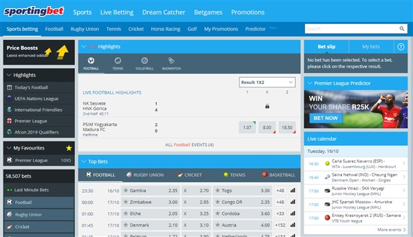 Sportingbet South Africa bookmaker review, betting guide