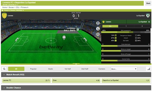 Betway SA Live Betting