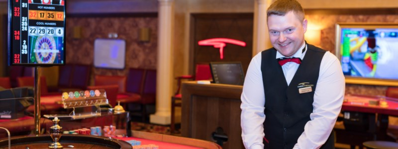 Male Dealer at the roulette table