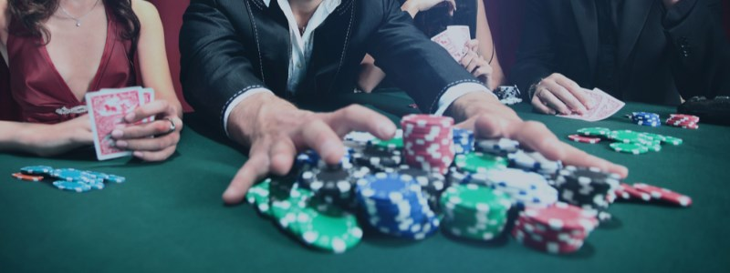 Online casino bonus chips on table