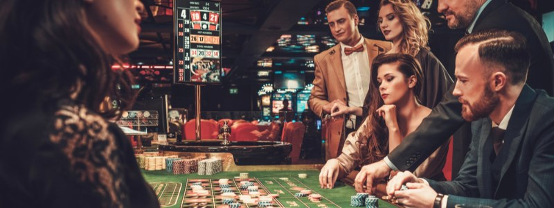 Gamblers at roulette table