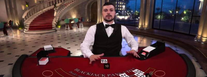 Blackjack live dealer card game croupier