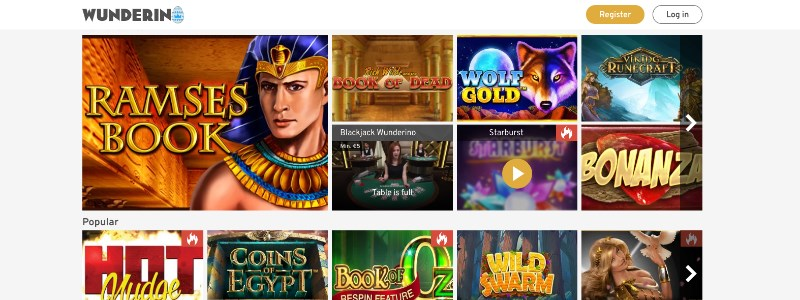 Wunderino Casino Homepage