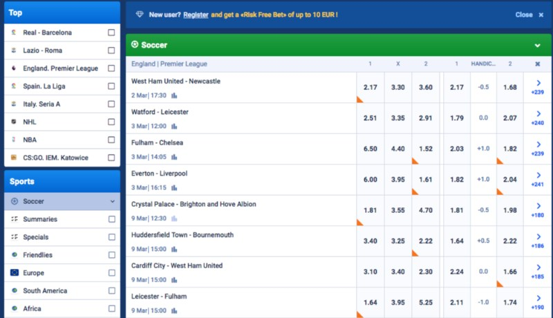 Favbet Football Betting