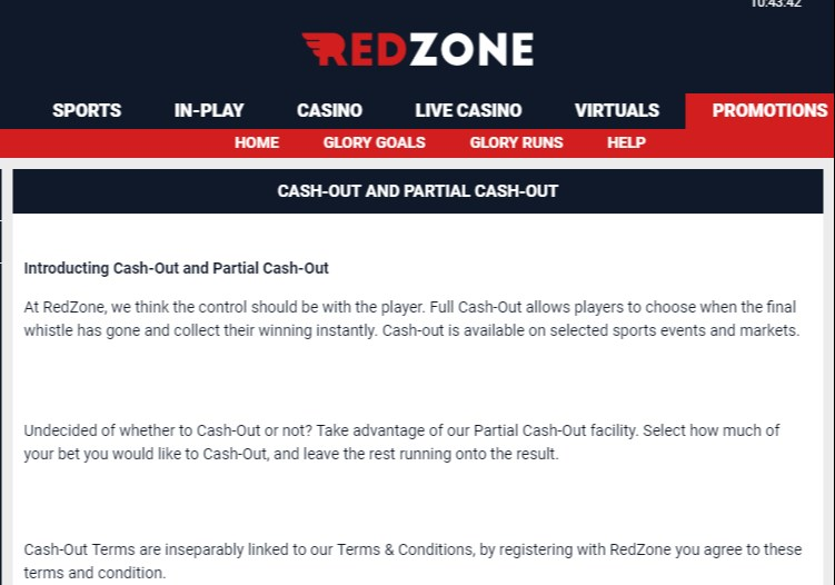 RedZoneSports Cash Out