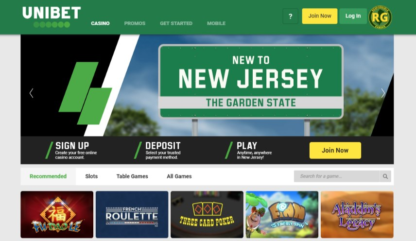 Unibet NJ Casino Home