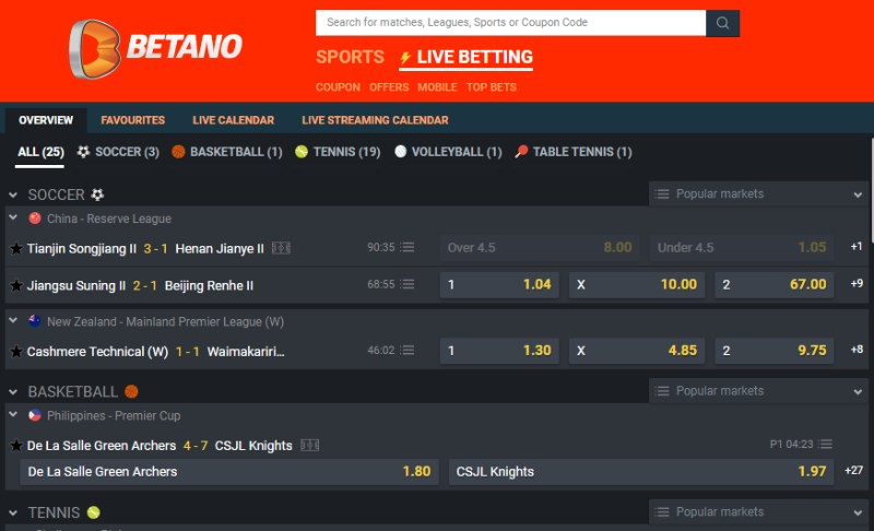 Betano Live Betting
