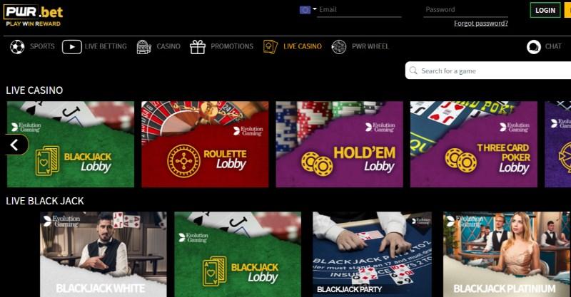 PWR.bet live casino