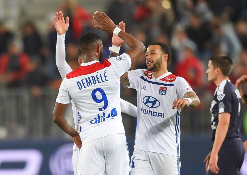 Memphis Depay, Bertrand Traore and Moussa Dembele