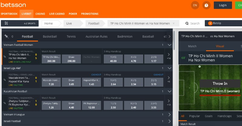 Betsson Live Betting