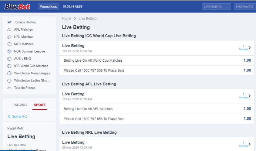 BlueBet Live Betting