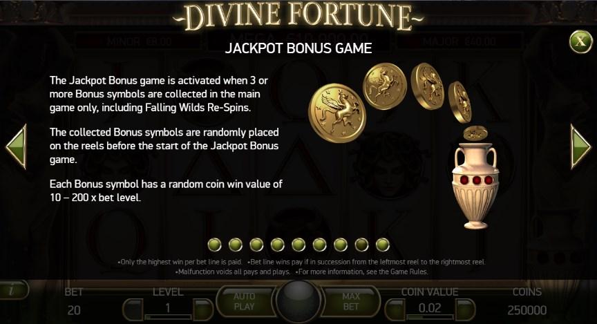 Divine Fortune Jackpot Bonus Round