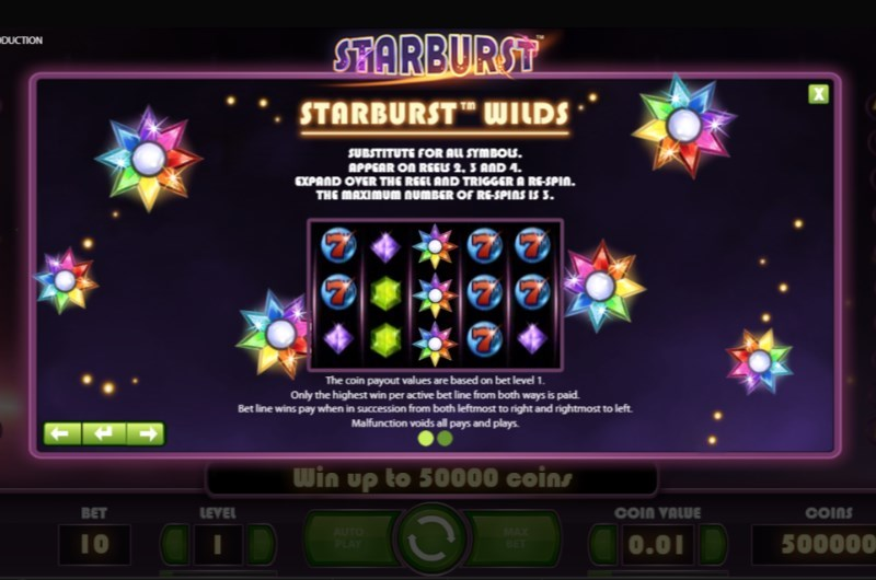Starburst Slots Paytable