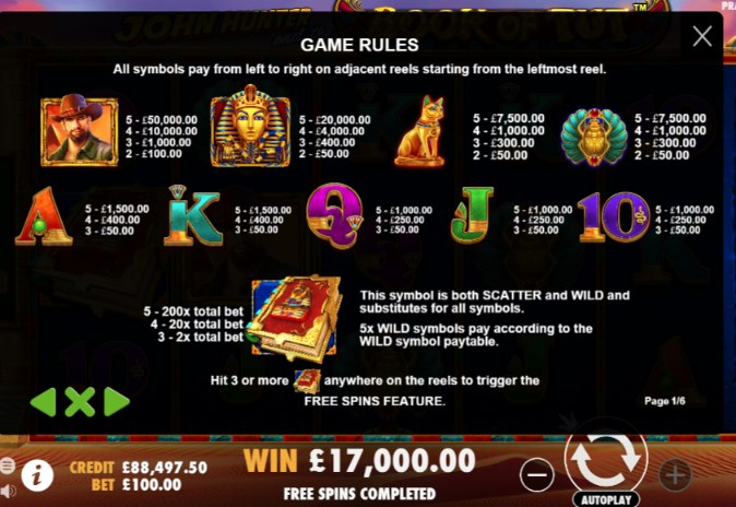 John Hunter and the Book of Tut Slots Paytable