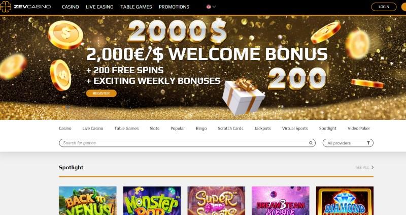 ZevCasino Homepage