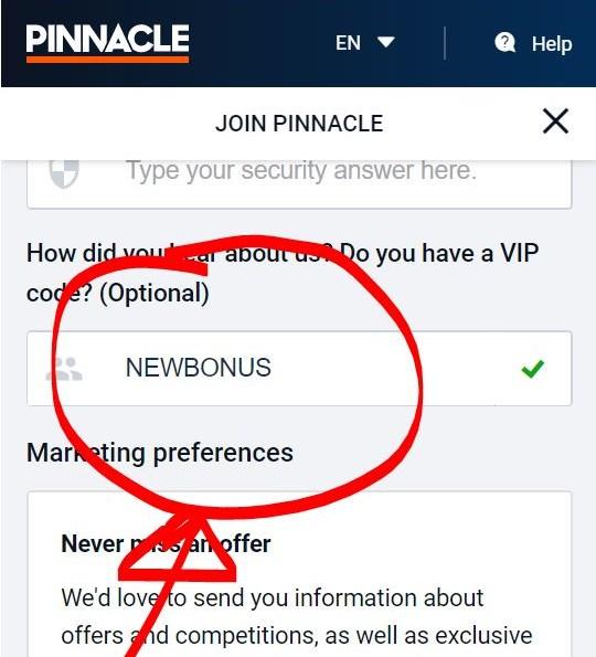 Pinnacle VIP Code NEWBONUS