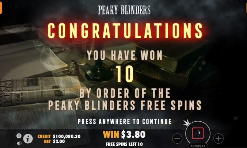 Peaky Blinders Free Spins