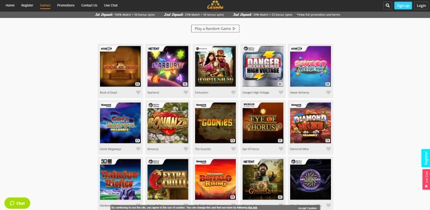 Casimba Casino Home Page