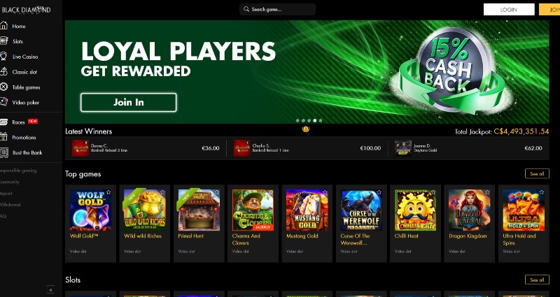 Black Diamond Casino Codes