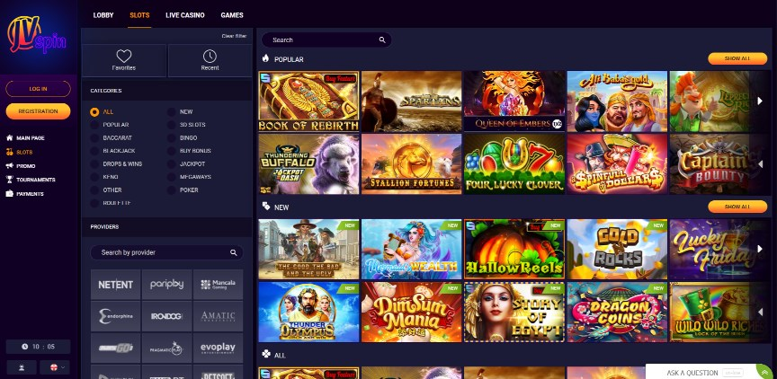 JVSpin Casino Page