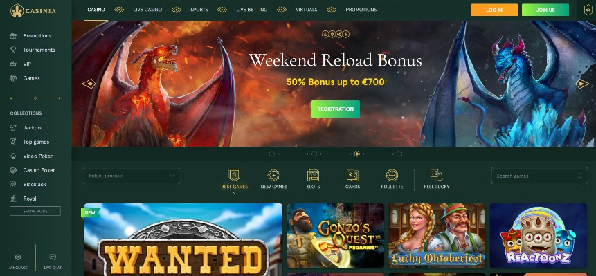 Casinia Casino Review