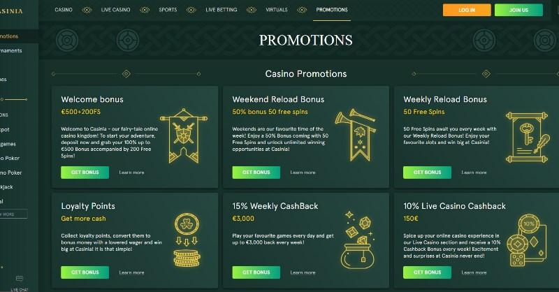 Casinia Promotions