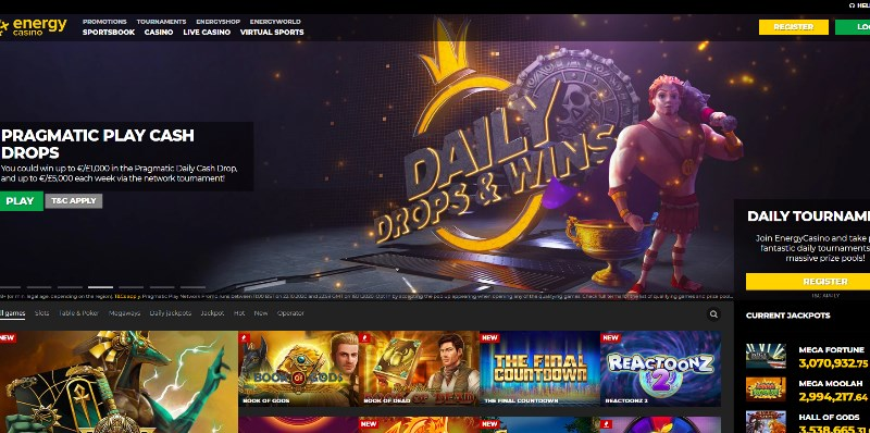 Energy Casino Home Page