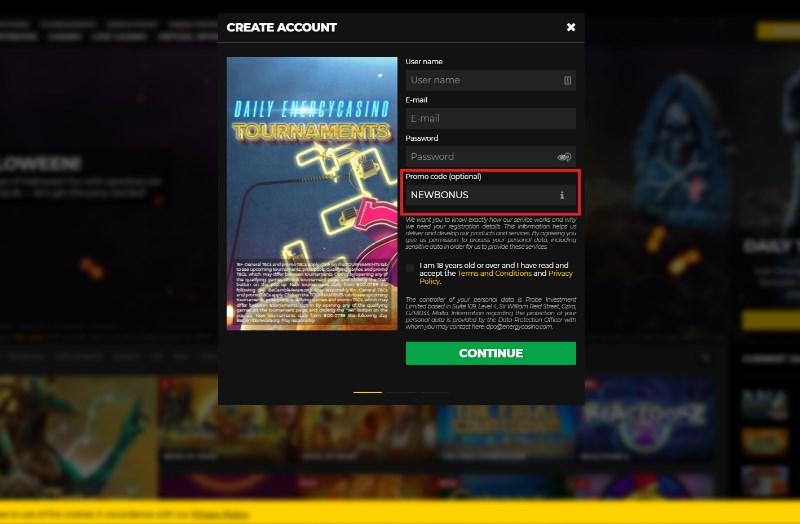 energy casino bonus code