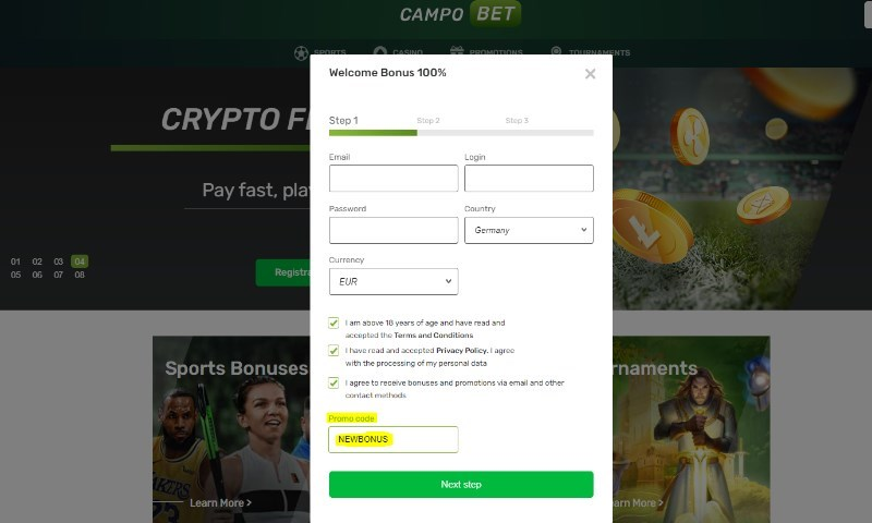 CampoBet promocode NEWBONUS