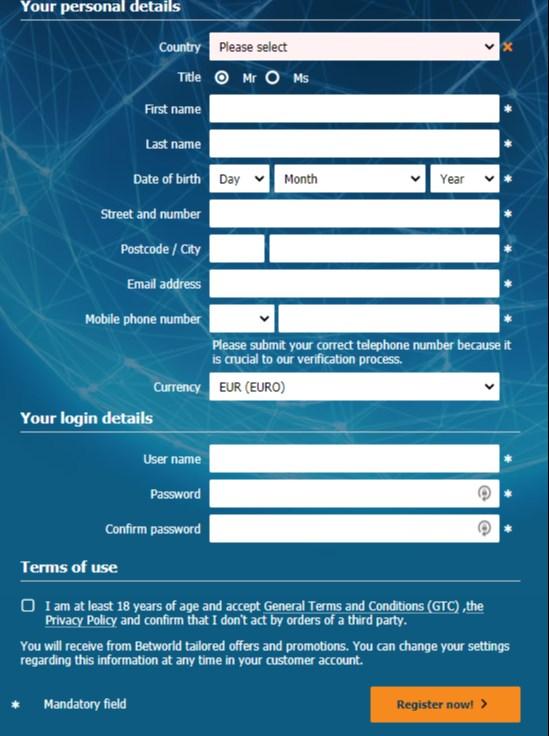 Betworld Registration