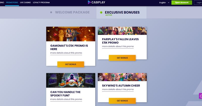 Casiplay Promotions Page