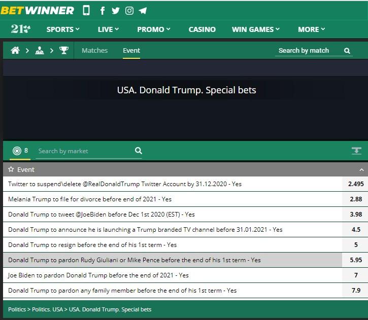 Donald Trump betting betwinner promo code