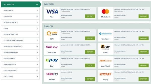 Betwinner Payment Methods