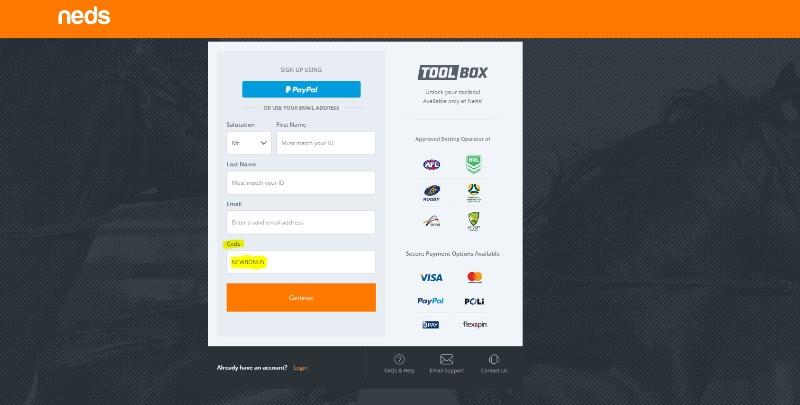 Neds.com.au code