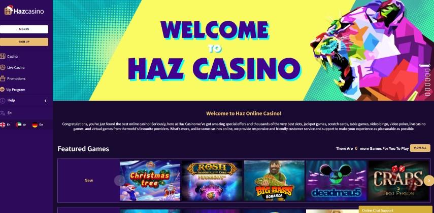 Haz Casino Homepage