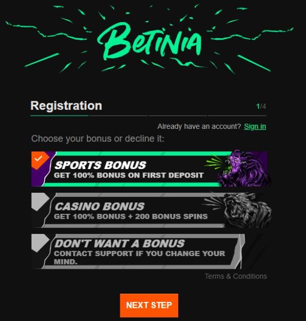 Betinia Promo Code