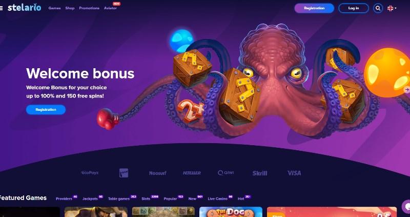 Stelario Casino Home page