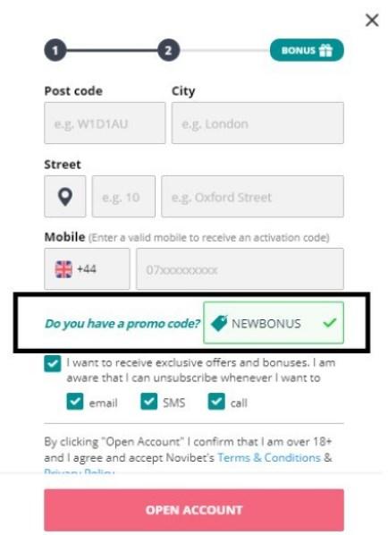 novibet promo code is NEWBONUS