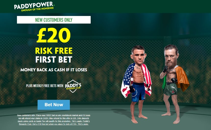 paddy power poirier mcgregor risk free bet