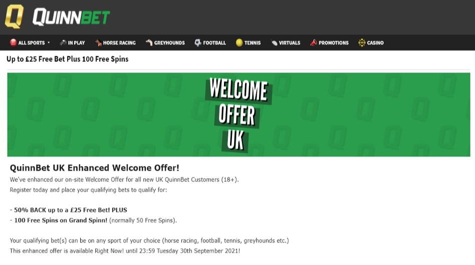 quinnbet welcome offer