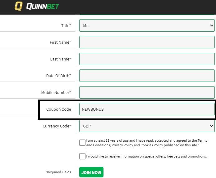 QuinnBet coupon code NEWBONUS